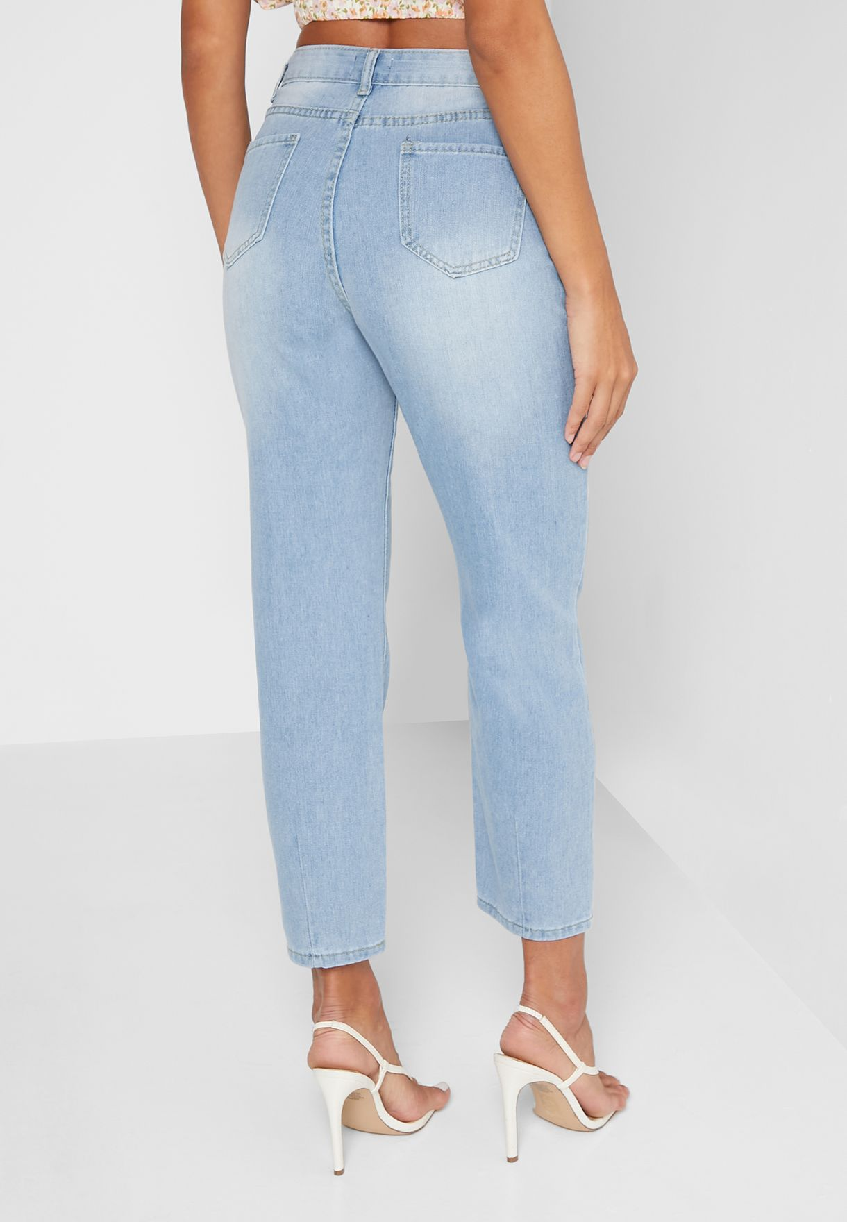 Solid Mom Jeans