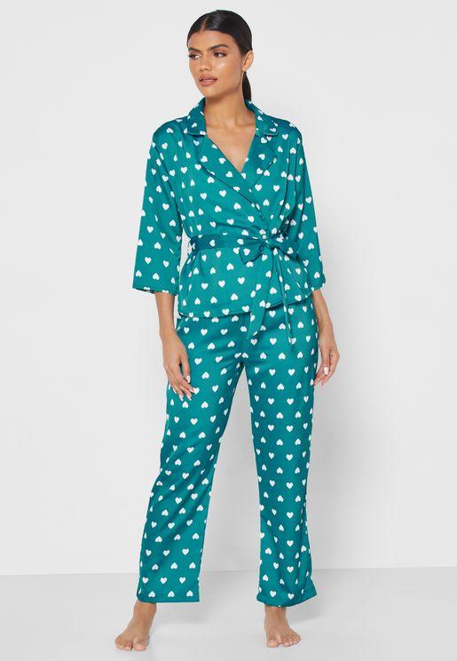 Heart Print Wrap Front Pyjama Set