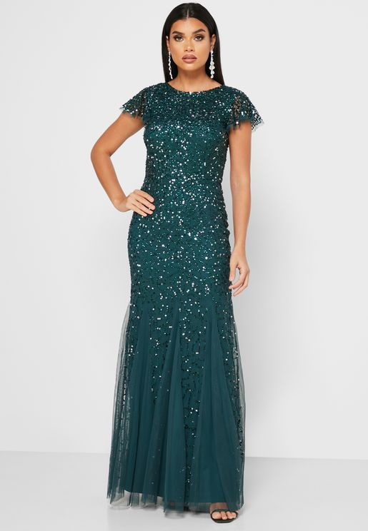 Sequin Mesh Detail Dress