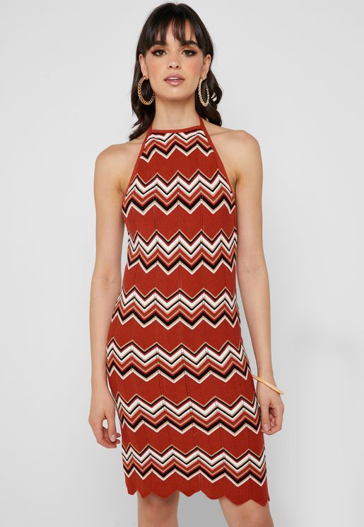 Chevron Halter Neck Dress