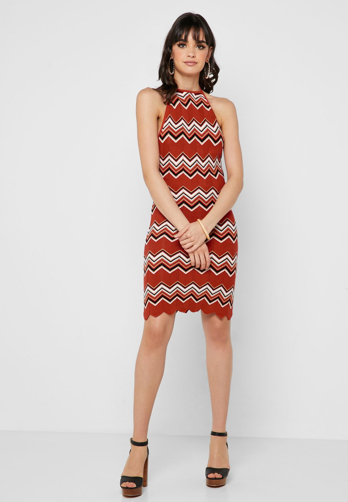 Chevron Halter Neck Dress