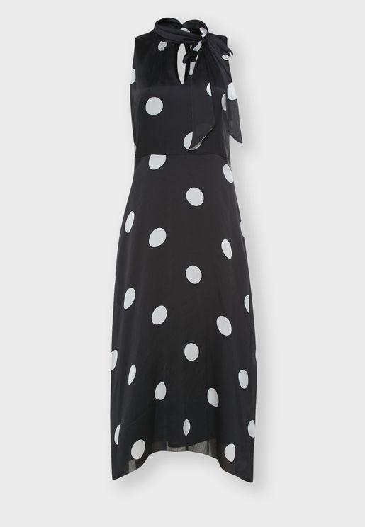 فستان منقط بأربطة عنق