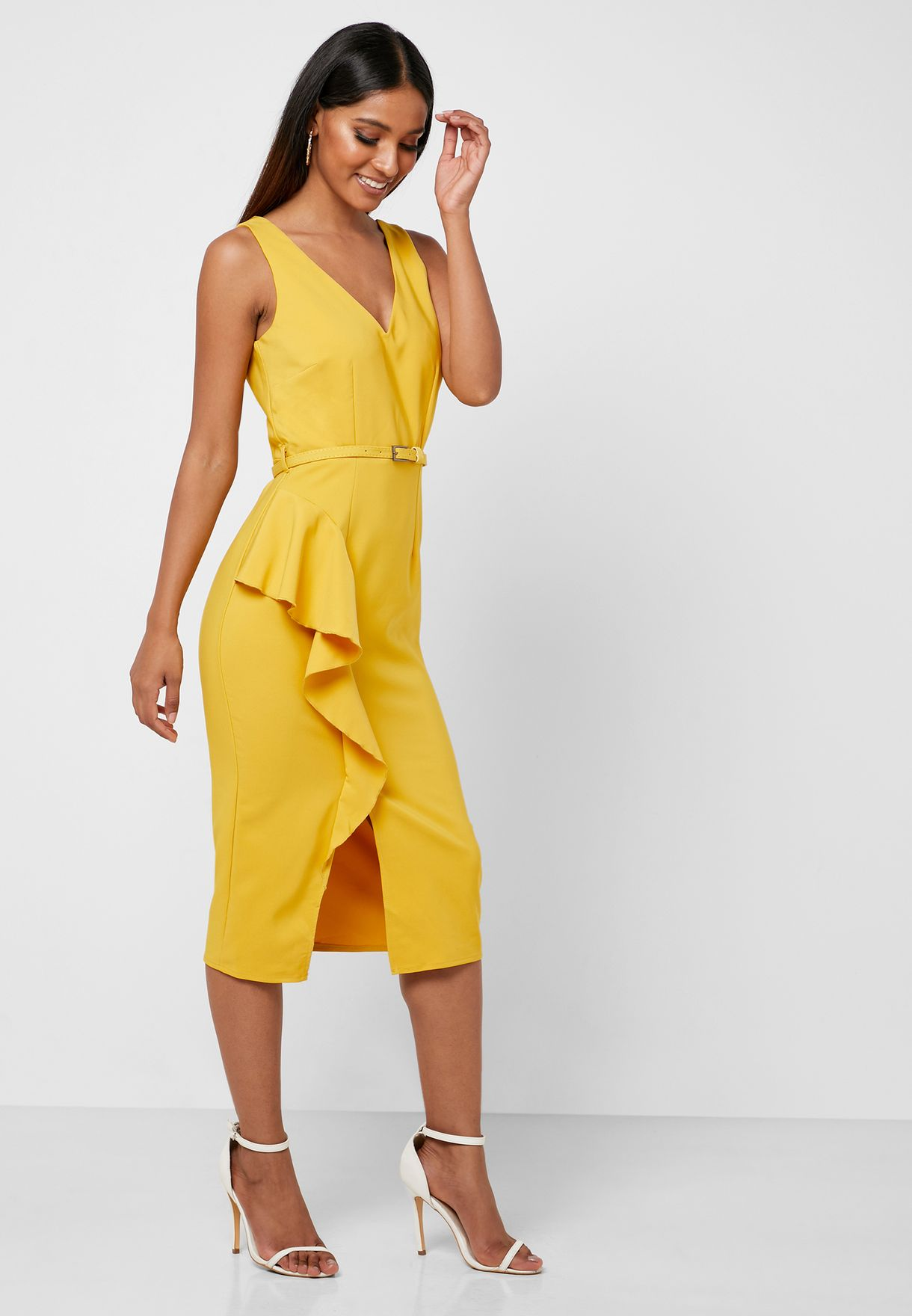 Belted Frill Detail Wrap Dress