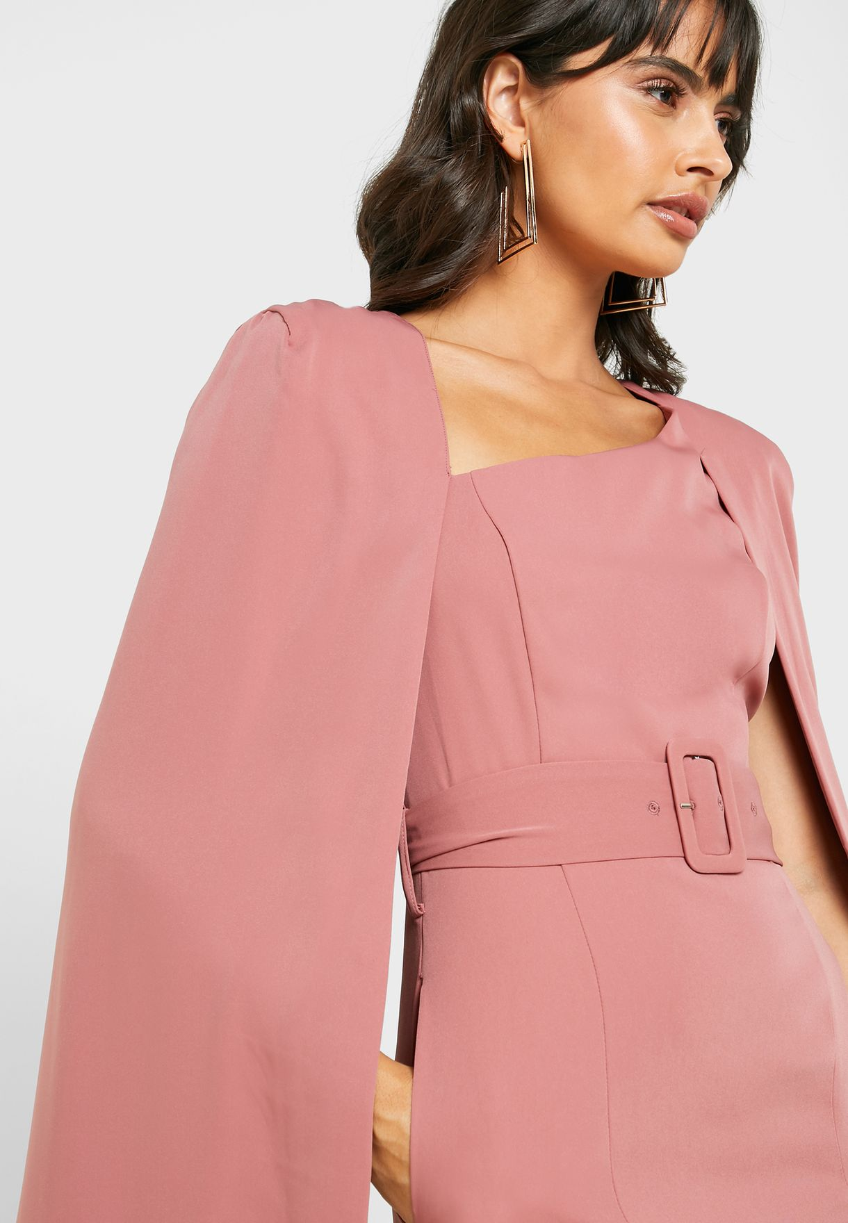 Belted Cape Sleeve Dress