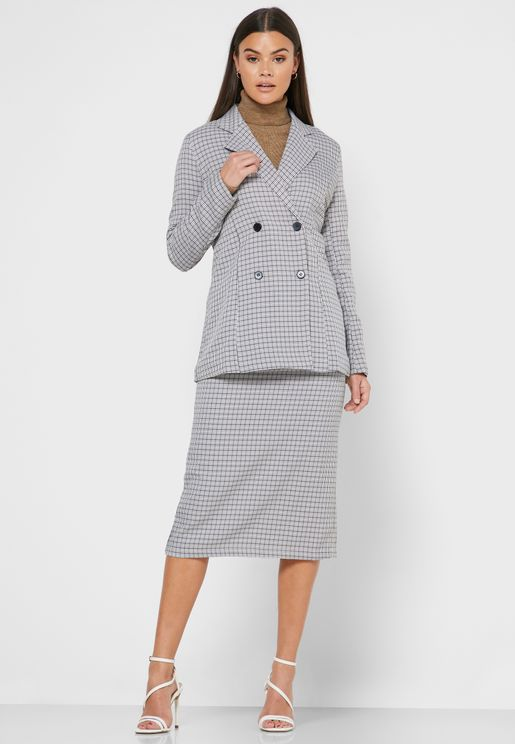 Checked Longline Blazer Midi Skirt Set