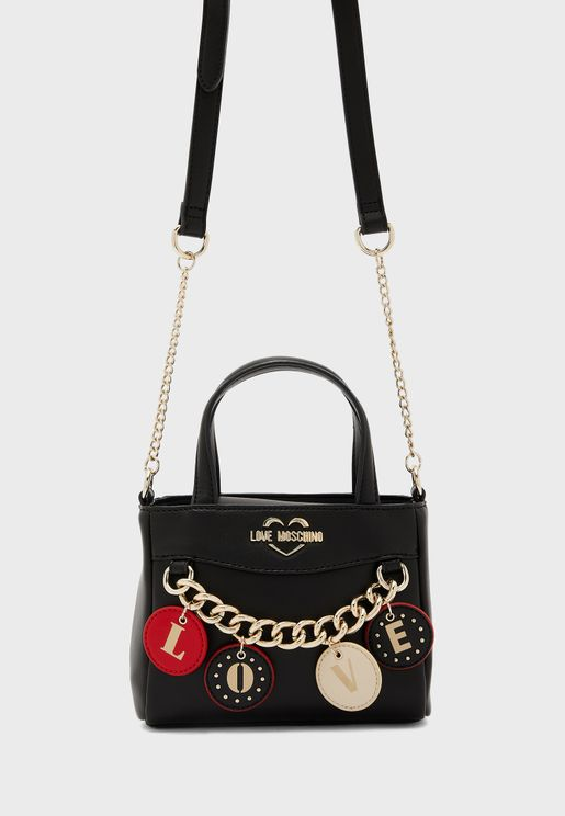 Top Handle Chain Detail Tote