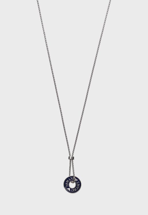 Engraved Circle Pendant Necklace