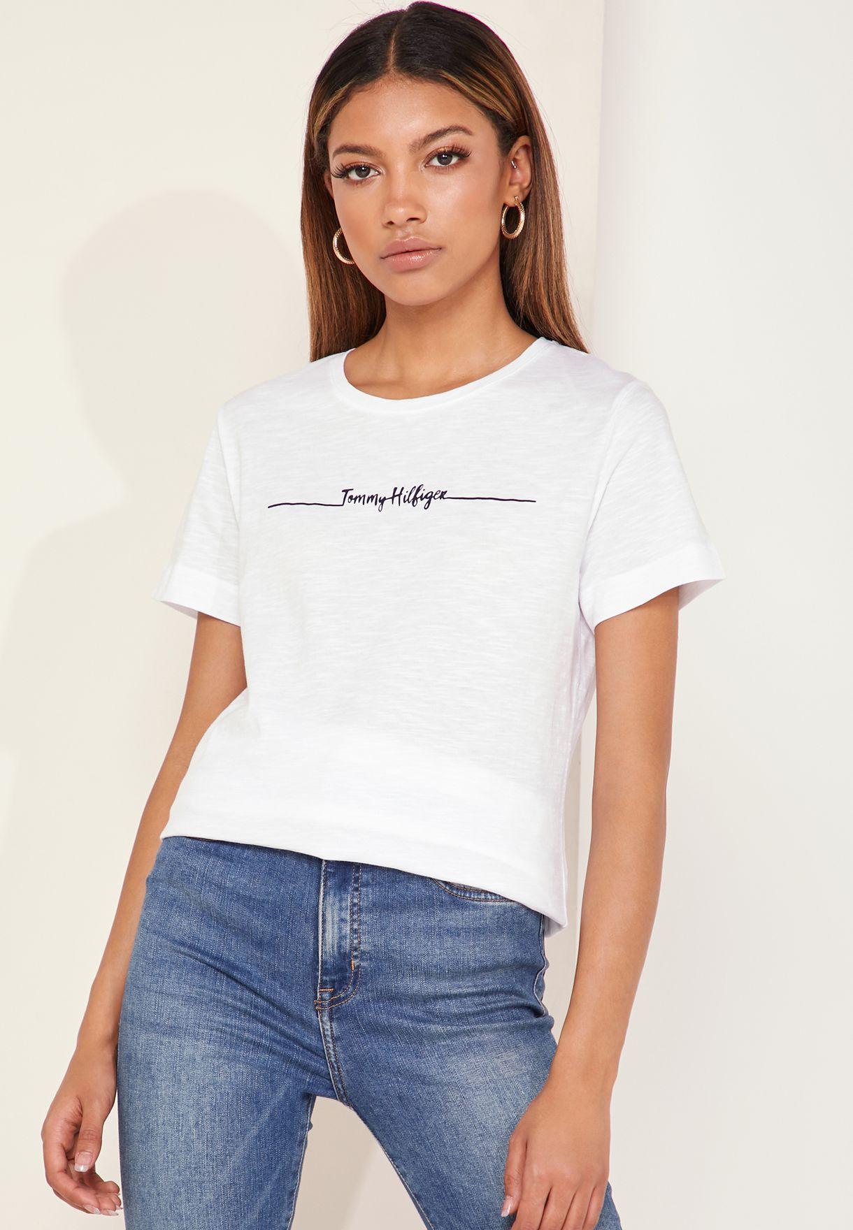 49bedd8e Shop Tommy Hilfiger white Elissa Logo T-Shirt WW0WW24721 for Women ...