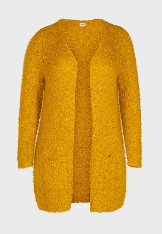 Pocket Detail Faux Fur Cardigan