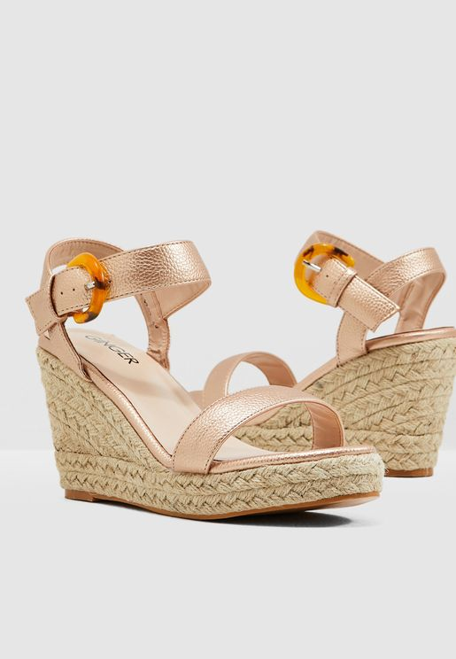 a0a75875a Wedge Sandals With Buckle Detail