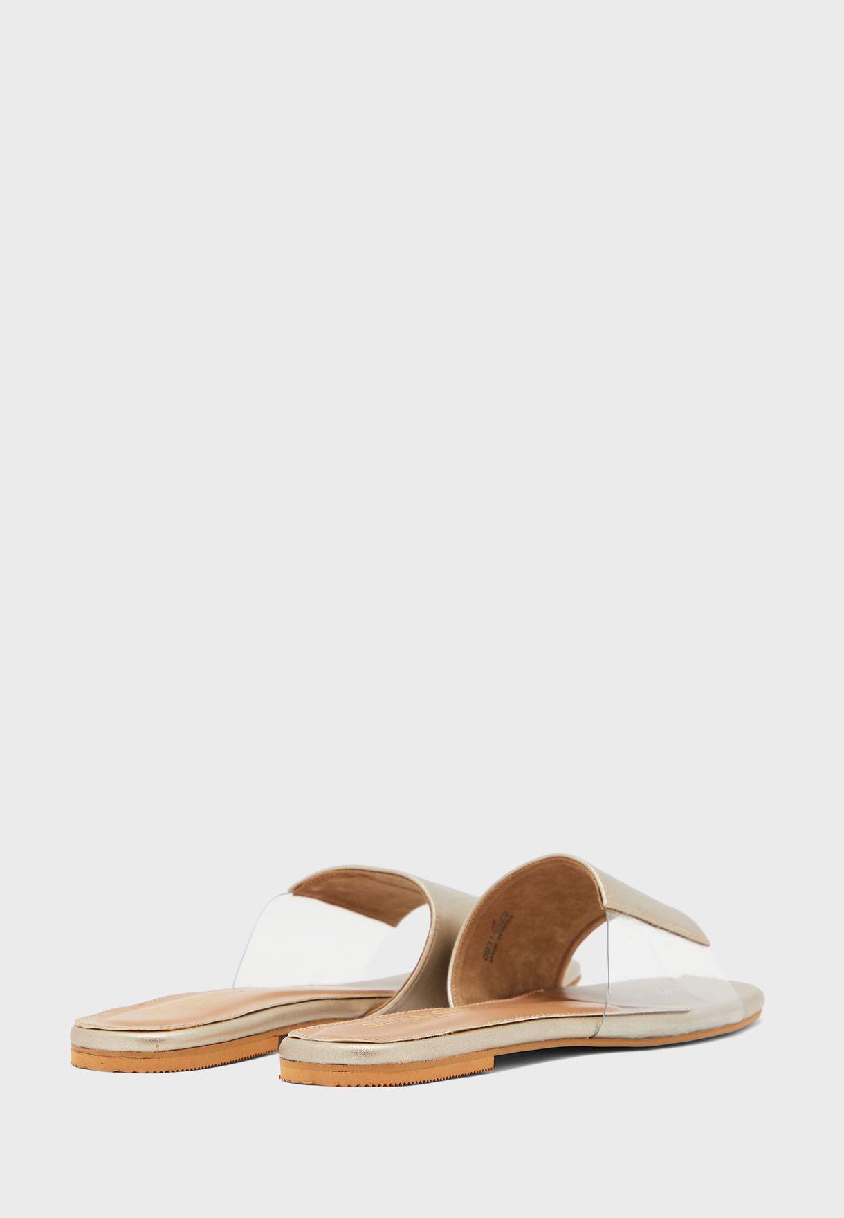 Wide Strap Flat Sandals