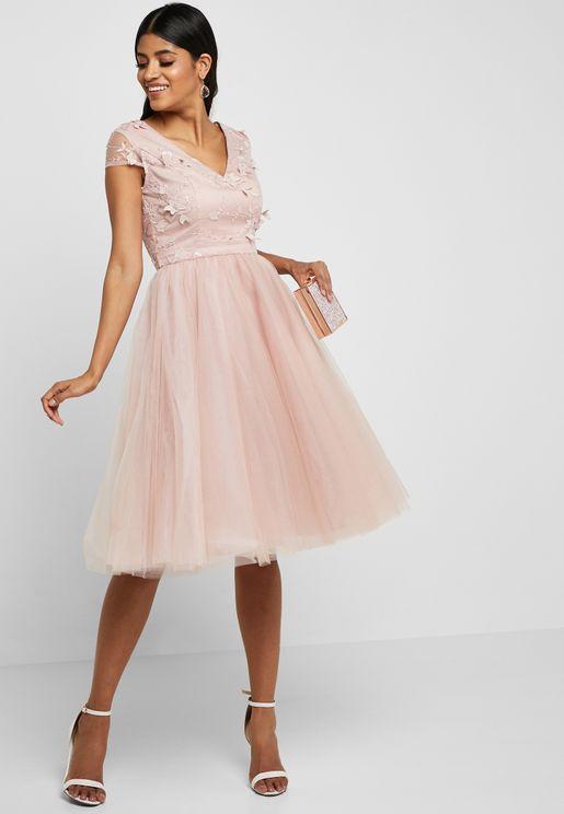 Floral Applique Tulle Dress