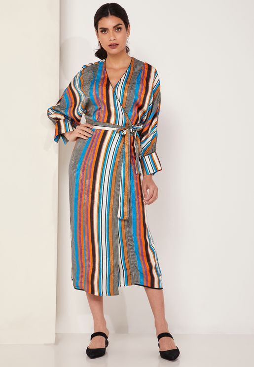 Belted Striped Wrap Maxi Dress