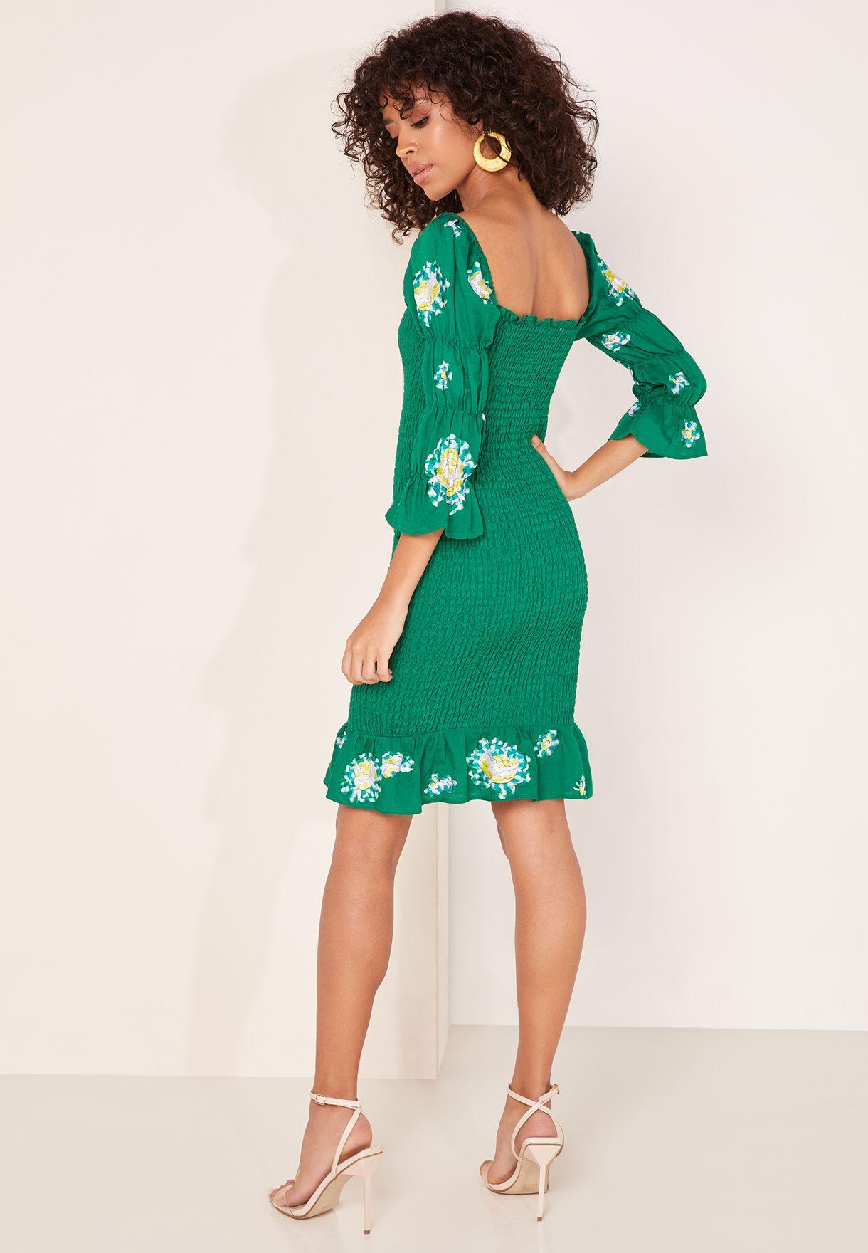 Mariana Puff Sleeve Ruffle Hem Dress