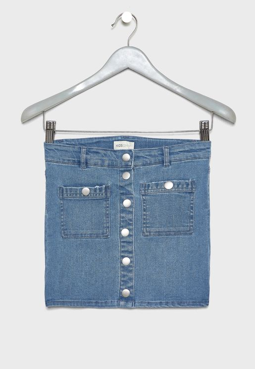 Kids Button Down Denim Skirt