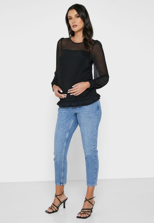 Maternity Mid Mom Tape Jeans