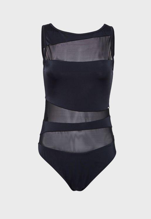 High Neck Mesh Swimsuit