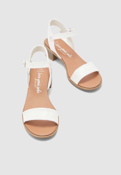 Ankle Strap Mid Heel Sandal - white