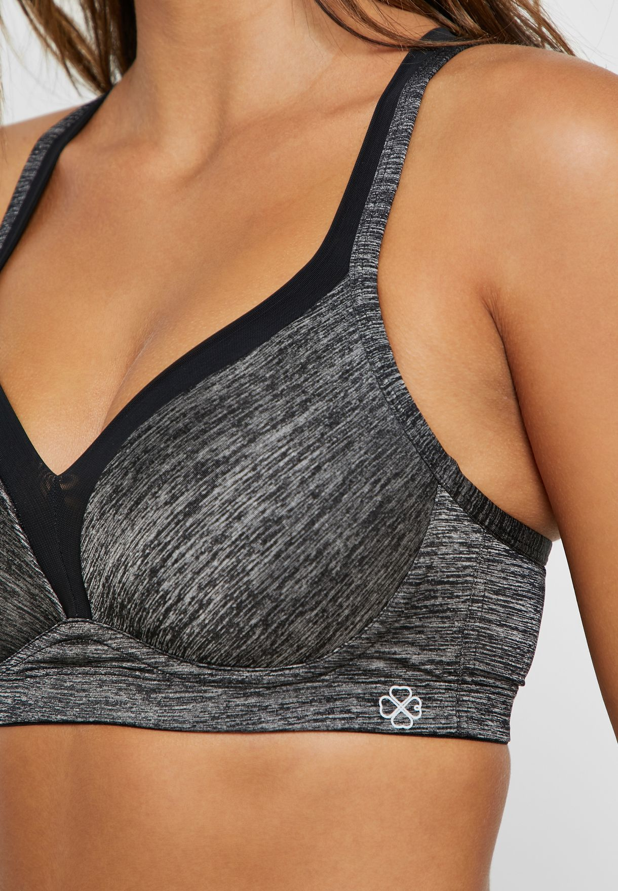 Cross Back Textured Sports Bra