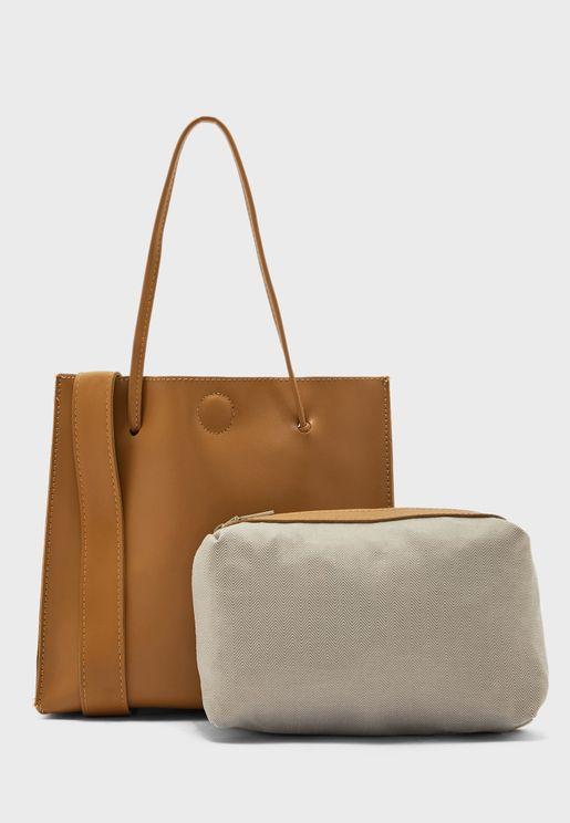 Minimal Tote Bag with Detachable Shoulder Strap