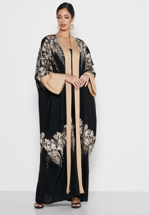 Contrast Detail Embroidered Abaya