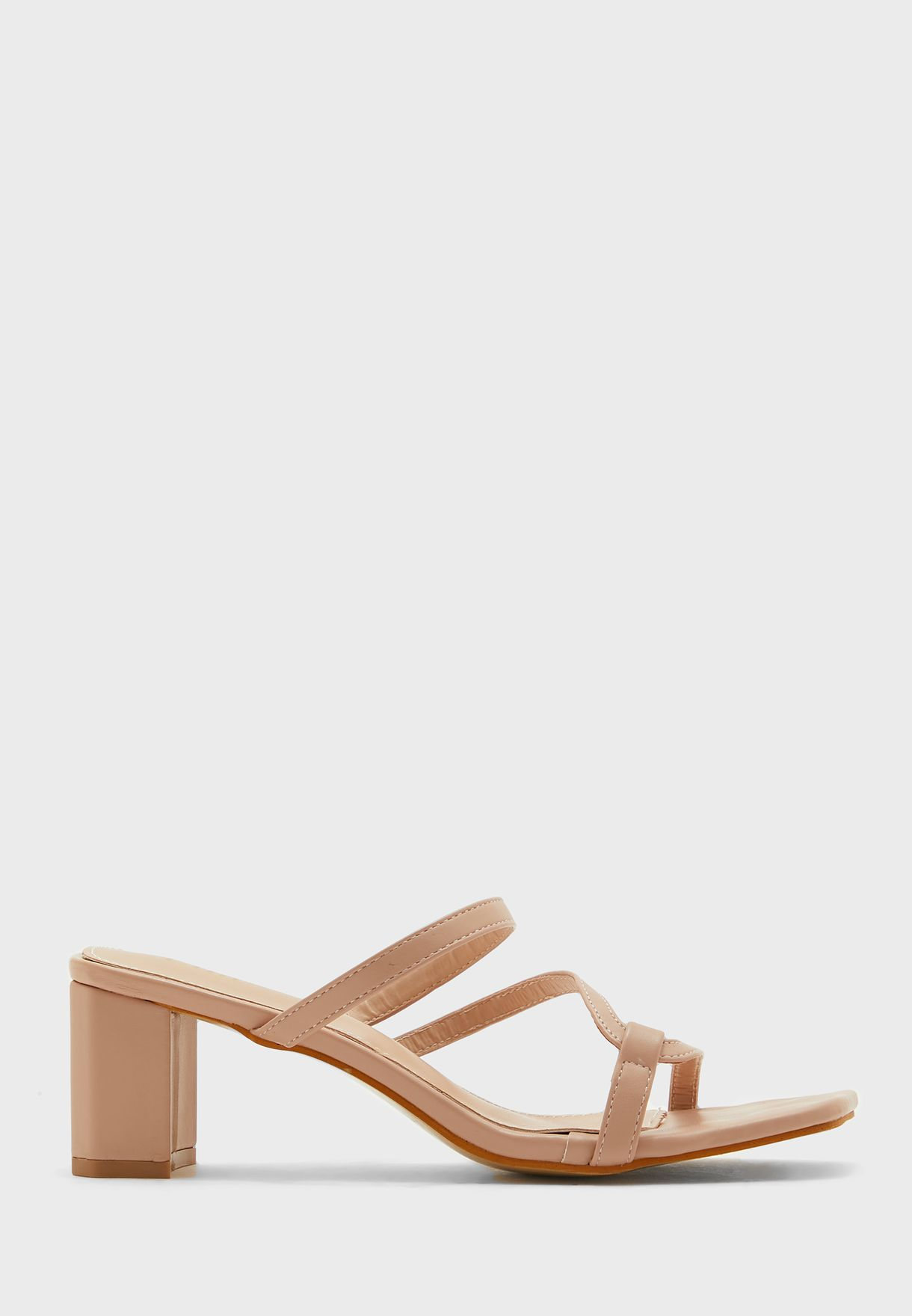 Square Toe Skinny Strap Mules