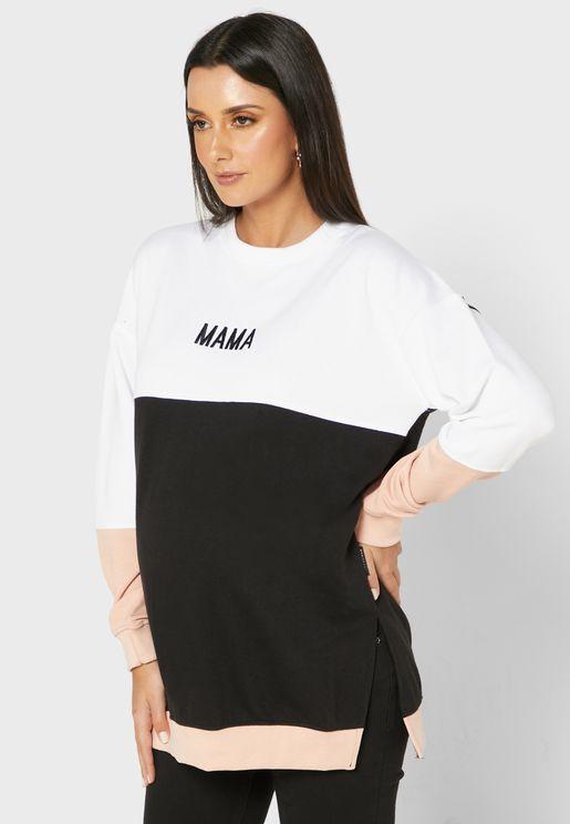 Slogan Color Block Sweater