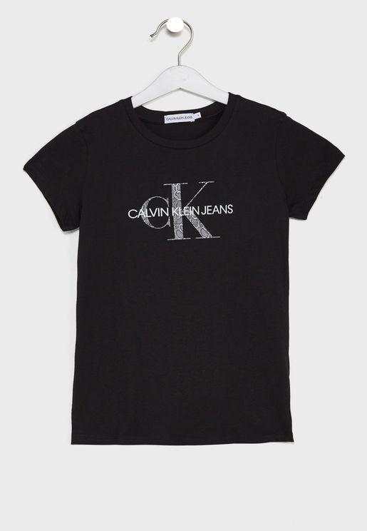 Kids Reptile Skin Monogram T-Shirt