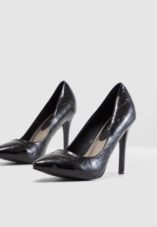 Court Shoe In Mock Croc