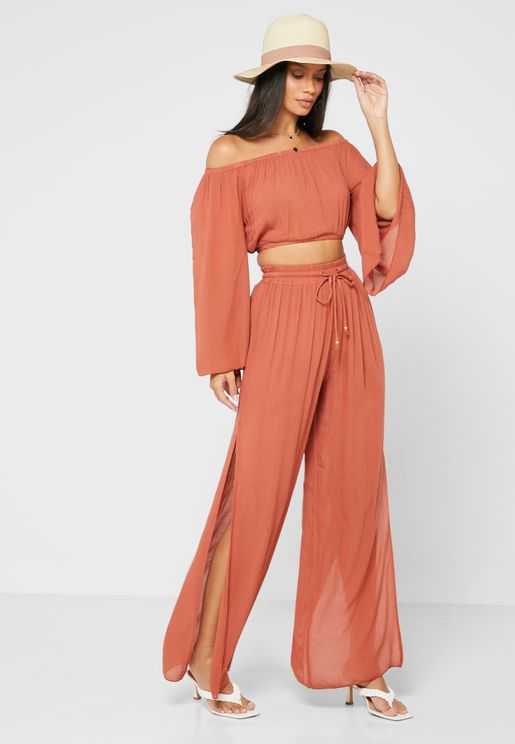Bardot Flare Sleeve Top With Split Side Pant