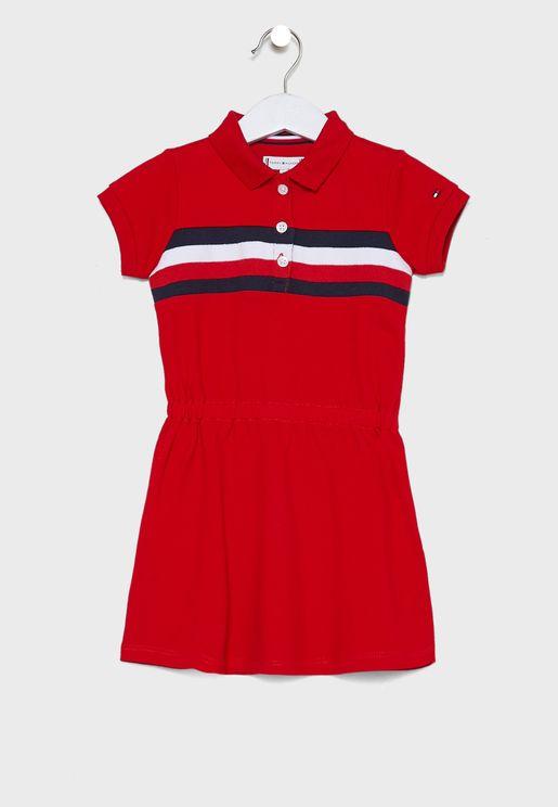 فستان بياقة بولو للاطفال