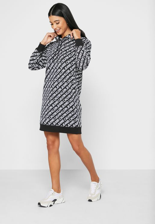 Oversized Logo Printed Dress