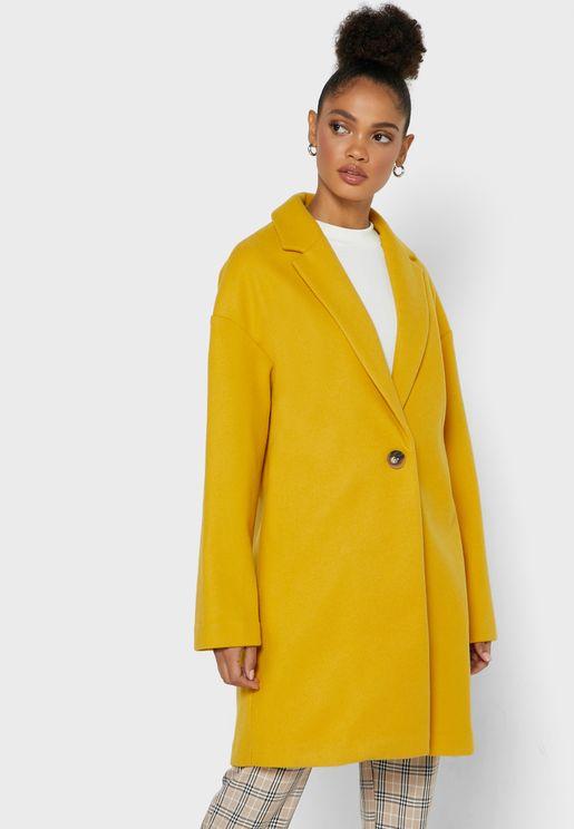 معطف طويل بياقة كلاسيكية