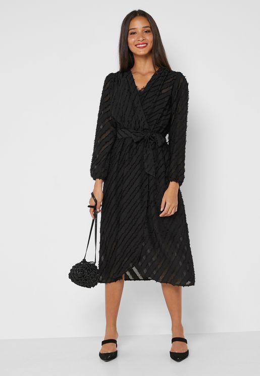 Textured Wrap Front Midi Dress