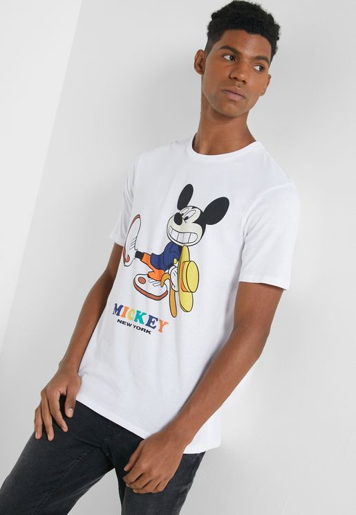 Mickey Mouse Print Crew Neck T-Shirt