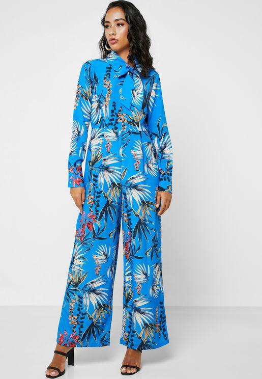 Floral Print Tie Front Jumpsuit