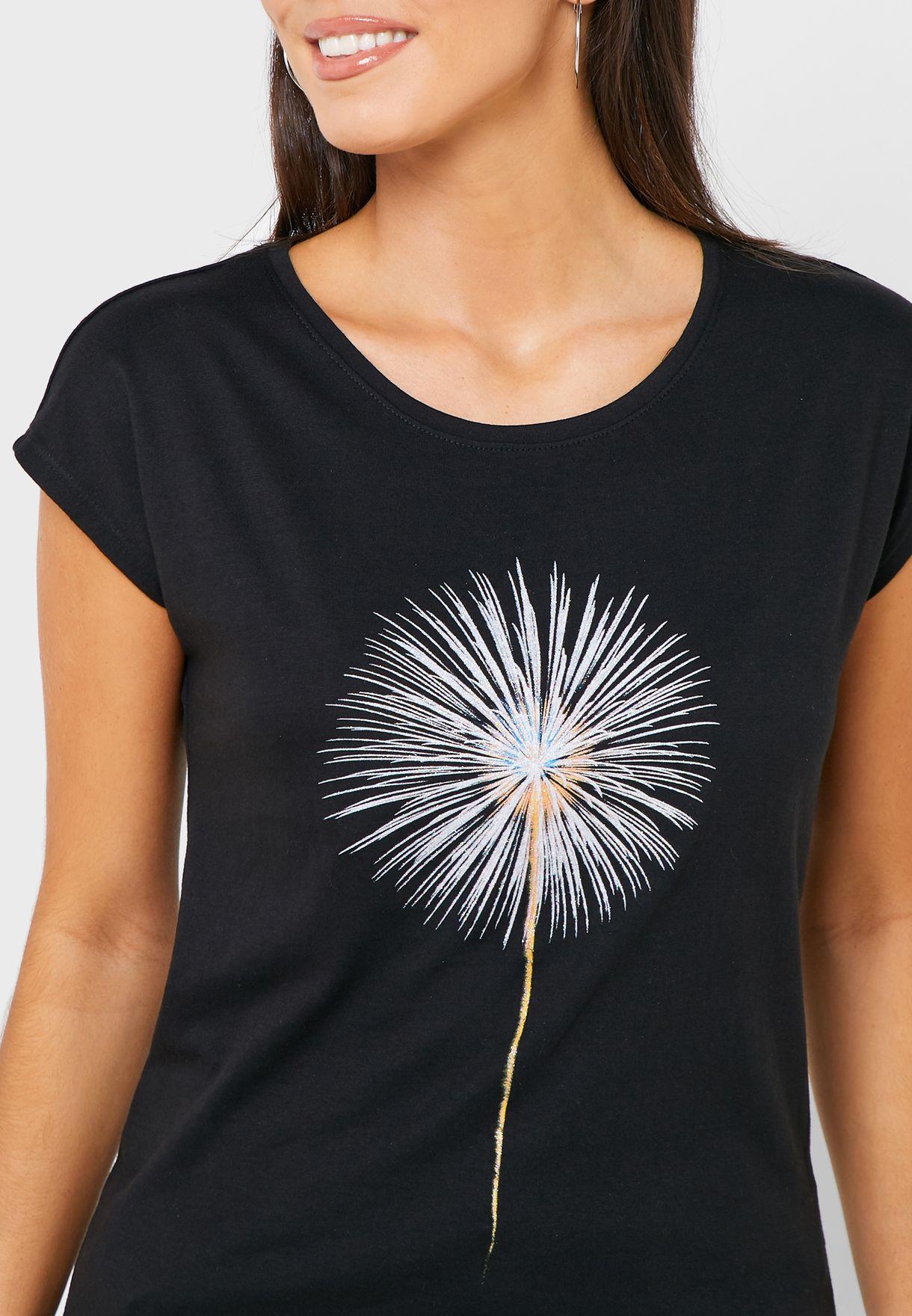 Cap Sleeve Graphic T-Shirt