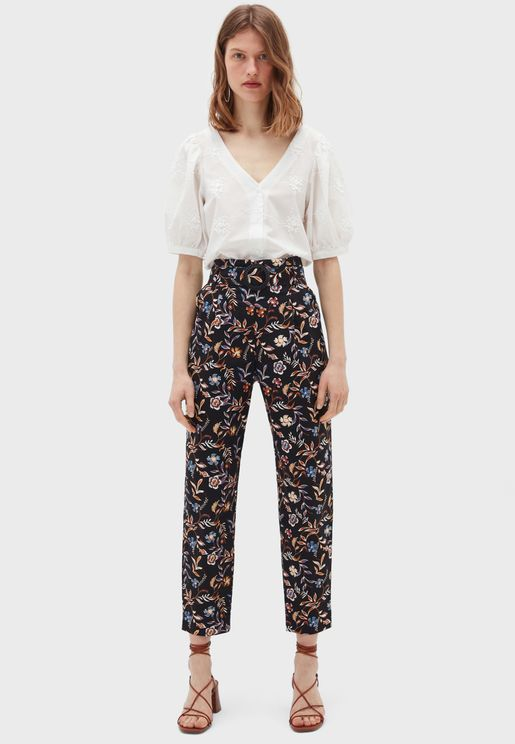 Floral Print High Waist Pants