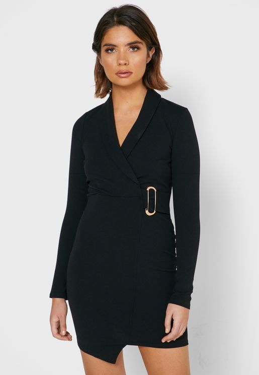 Buckle Detail Blazer Dress