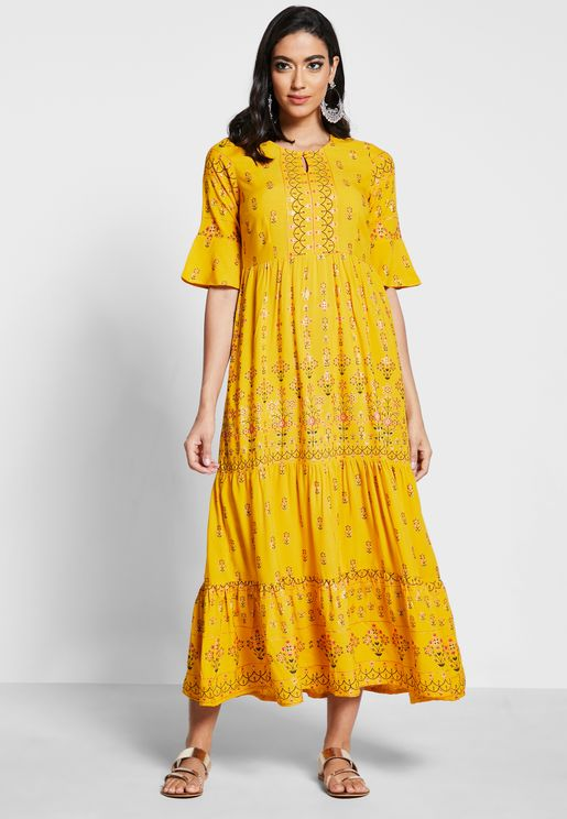 Mustard Floral Foil Bell Sleeve Tiered Maxi Tunic