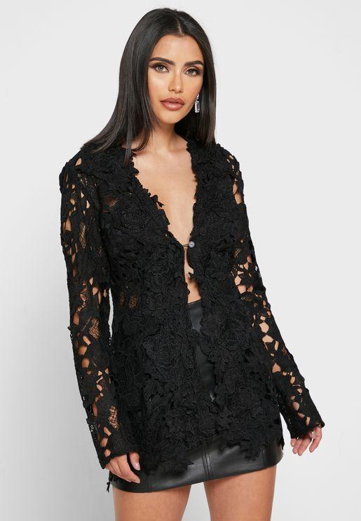 Crochet Lace Detail Blazer