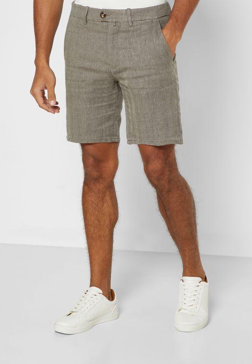 Herringbone Pattern Chino Shorts