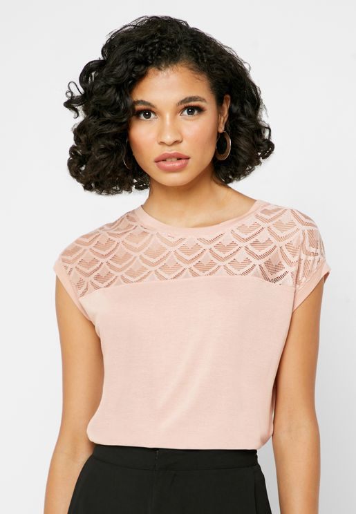 Lace Detail Short Sleeve Top