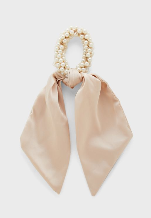 Satin Scrunchie With Pearl Elastic