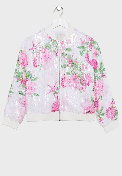 Kids Sequin Chiffon Bomber Jacket