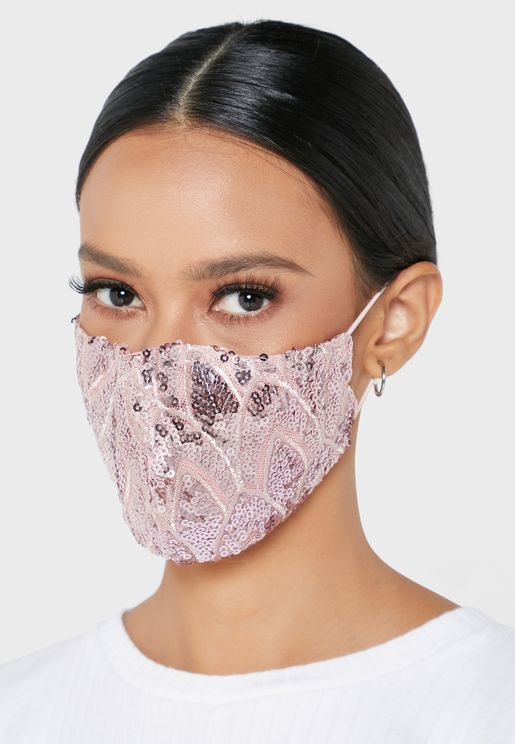Embroidered Sequins Mask