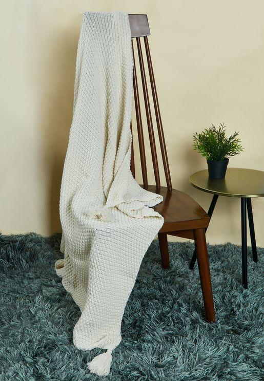 Cream Knitted Blanket 130cm x 170cm