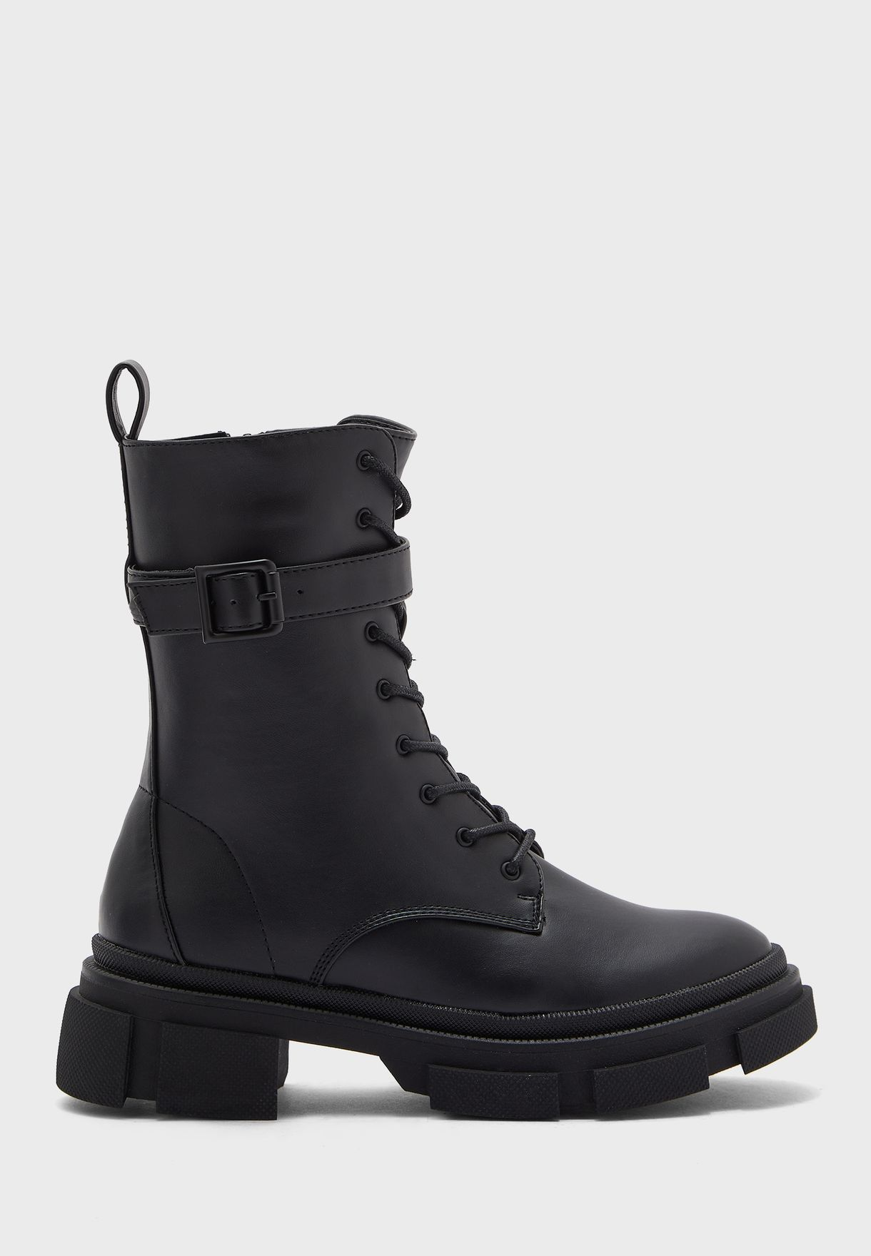 Chunky Wrap Around Buckle Ankle Boots