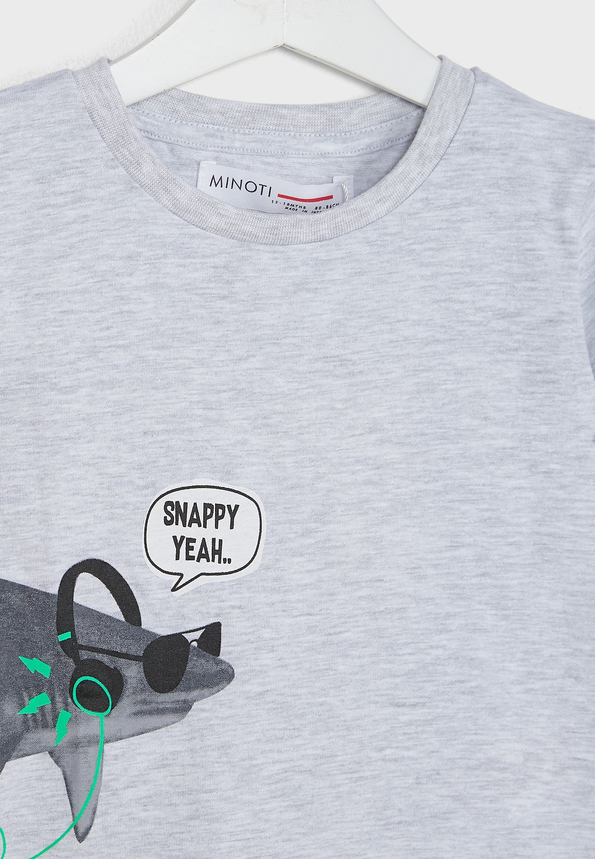 Kids Snappy Yeah Basic Graphic Roll Sleeve Tee