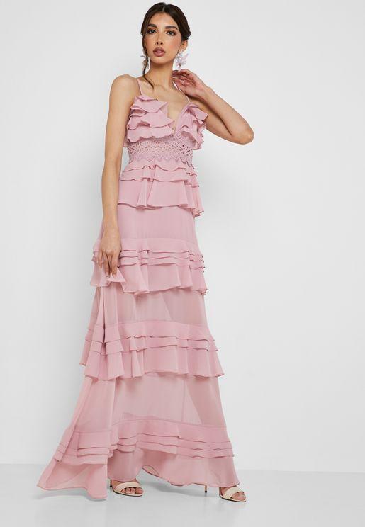 Layered Ruffle Maxi Dress